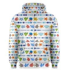 Coral Reef Fish Coral Star Men s Zipper Hoodie by Mariart