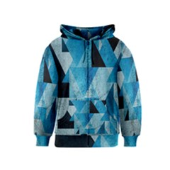 Plane And Solid Geometry Charming Plaid Triangle Blue Black Kids  Zipper Hoodie by Mariart