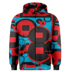 Stancilm Circle Round Plaid Triangle Red Blue Black Men s Zipper Hoodie