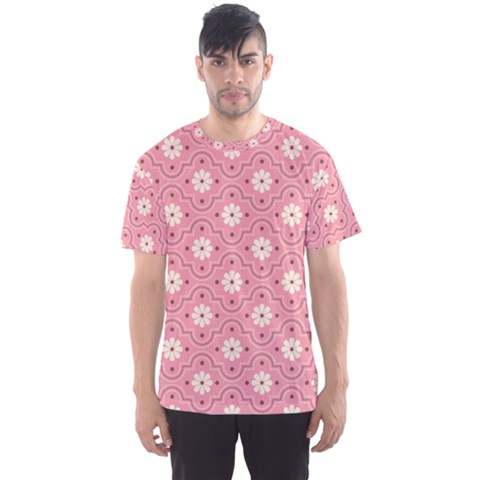 Sunflower Star White Pink Chevron Wave Polka Men s Sport Mesh Tee by Mariart