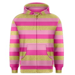 Pink Line Gold Red Horizontal Men s Zipper Hoodie by Mariart
