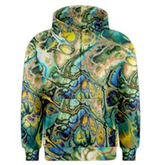 Flower Power Fractal Batik Teal Yellow Blue Salmon Men s Zipper Hoodie by EDDArt