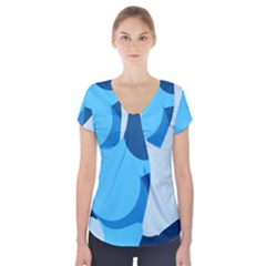 Blue Polka Short Sleeve Front Detail Top by Mariart