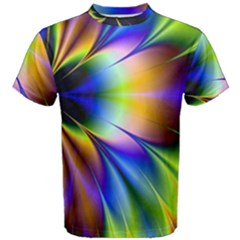 Bright Flower Fractal Star Floral Rainbow Men s Cotton Tee by Mariart