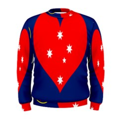 Love Heart Star Circle Polka Moon Red Blue White Men s Sweatshirt by Mariart