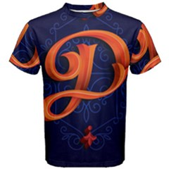 Marquis Love Dope Lettering Blue Red Orange Alphabet P Men s Cotton Tee by Mariart