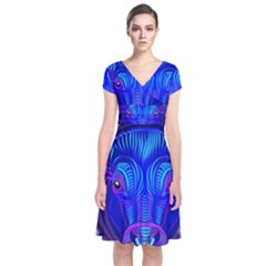 Sign Taurus Zodiac Short Sleeve Front Wrap Dress by Mariart