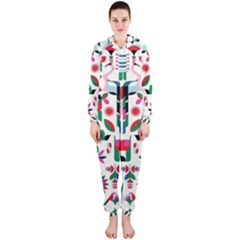 Abstract Peacock Hooded Jumpsuit (ladies)  by Nexatart