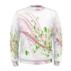Sunflower Flower Floral Leaf Line Wave Chevron Pink Men s Sweatshirt by Mariart