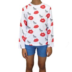 Smooch Pattern Design Kids  Long Sleeve Swimwear by Nexatart