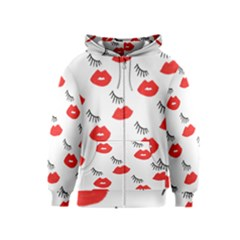 Smooch Pattern Design Kids  Zipper Hoodie by Nexatart