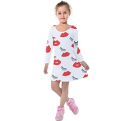 Smooch Pattern Design Kids  Long Sleeve Velvet Dress by Nexatart