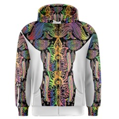 Prismatic Floral Pattern Elephant Men s Zipper Hoodie by Nexatart
