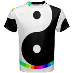 Rainbow Around Yinyang Men s Cotton Tee by Nexatart