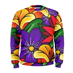 Bright Flowers Floral Sunflower Purple Orange Greeb Red Star Men s Sweatshirt by Mariart