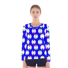 Easter Egg Fabric Circle Blue White Red Yellow Rainbow Women s Long Sleeve Tee by Mariart