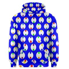 Easter Egg Fabric Circle Blue White Red Yellow Rainbow Men s Zipper Hoodie by Mariart