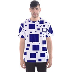 Illustrated Blue Squares Men s Sport Mesh Tee by Mariart