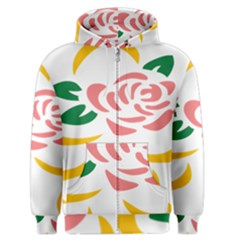 Pink Rose Ribbon Bouquet Green Yellow Flower Floral Men s Zipper Hoodie by Mariart