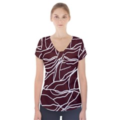 River System Line Brown White Wave Chevron Short Sleeve Front Detail Top by Mariart