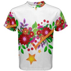 Heart Flowers Sign Men s Cotton Tee