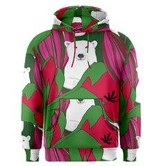 Animals White Bear Flower Floral Red Green Men s Pullover Hoodie by Mariart