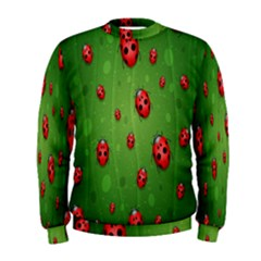 Ladybugs Red Leaf Green Polka Animals Insect Men s Sweatshirt by Mariart