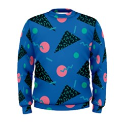 Seamless Triangle Circle Blue Waves Pink Men s Sweatshirt by Mariart