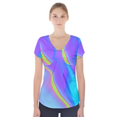 Aurora Color Rainbow Space Blue Sky Purple Yellow Short Sleeve Front Detail Top by Mariart