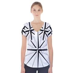 Compase Star Rose Black White Short Sleeve Front Detail Top by Mariart