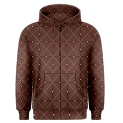 Coloured Line Squares Brown Plaid Chevron Men s Zipper Hoodie by Mariart