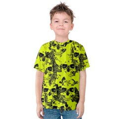 Cloudy Skulls Black Yellow Kids  Cotton Tee