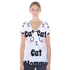 Love My Cat Mommy Short Sleeve Front Detail Top by Catifornia