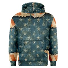 Grunge Ripped Paper Usa Flag Men s Pullover Hoodie by Mariart