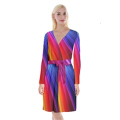 Multicolor Light Beam Line Rainbow Red Blue Orange Gold Purple Pink Long Sleeve Velvet Front Wrap Dress by Mariart