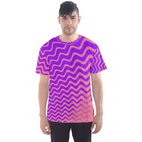 Original Resolution Wave Waves Chevron Pink Purple Men s Sport Mesh Tee by Mariart