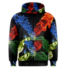 Perfect Amoled Screens Fire Water Leaf Sun Men s Zipper Hoodie by Mariart