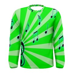 Music Notes Light Line Green Men s Long Sleeve Tee by Mariart