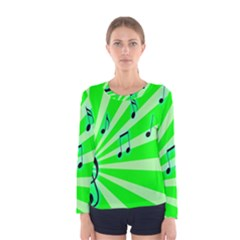 Music Notes Light Line Green Women s Long Sleeve Tee by Mariart