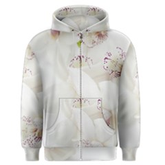 Orchids Flowers White Background Men s Zipper Hoodie by Nexatart