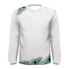 Beautiful Frame Made Up Of Blue Peacock Feathers Men s Long Sleeve Tee by Nexatart