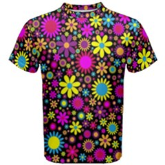 Bright And Busy Floral Wallpaper Background Men s Cotton Tee by Nexatart