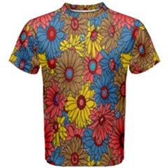Background With Multi Color Floral Pattern Men s Cotton Tee by Nexatart