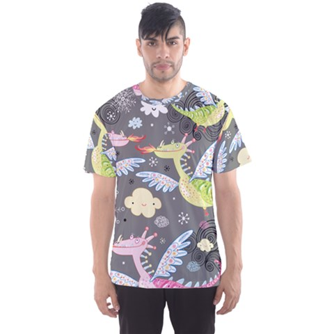 Dragonfly Animals Dragom Monster Fair Cloud Circle Polka Men s Sports Mesh Tee by Mariart