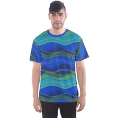 Geometric Line Wave Chevron Waves Novelty Men s Sports Mesh Tee by Mariart