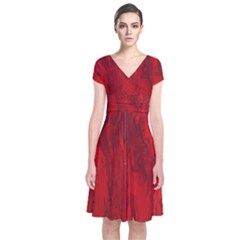 Stone Red Volcano Short Sleeve Front Wrap Dress by Mariart