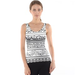 Black White Decorative Ornaments Tank Top by Mariart
