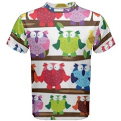 Funny Owls Sitting On A Branch Pattern Postcard Rainbow Men s Cotton Tee by Mariart