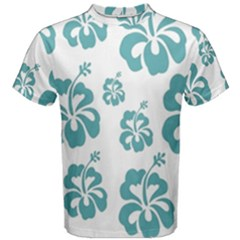 Hibiscus Flowers Green White Hawaiian Blue Men s Cotton Tee by Mariart