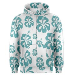 Hibiscus Flowers Green White Hawaiian Blue Men s Zipper Hoodie by Mariart
